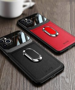 iPhone 11 Pro Max Leather Automobile bracket Case