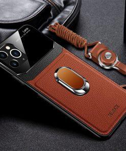 iPhone 11 Pro Max Leather Automobile bracket Case